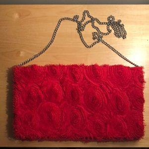 Fridge Floral Circles Appliqué Evening Bag w Chain
